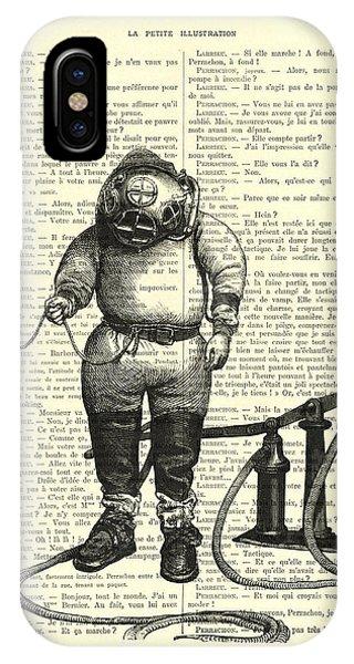 Scuba Diving iPhone Case - Deep Sea Diver by Madame Memento