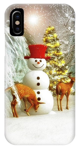Deer And Snowman IPhone Case