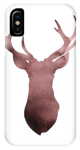 Fall iPhone Case - Deer Antlers Silhouette Minimalist Painting by Joanna Szmerdt