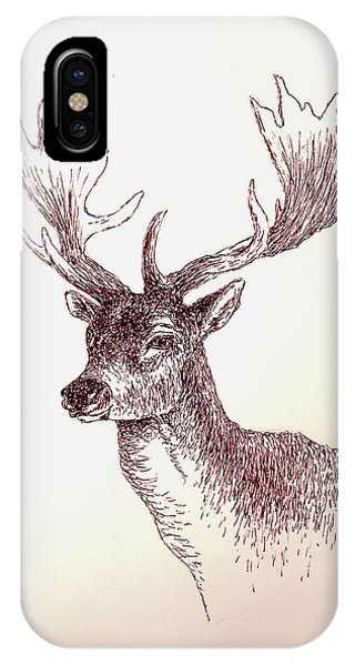 Cabin iPhone Case - Deer In Ink by Michael Vigliotti
