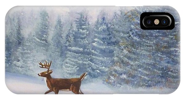 Deer In The Snow IPhone Case