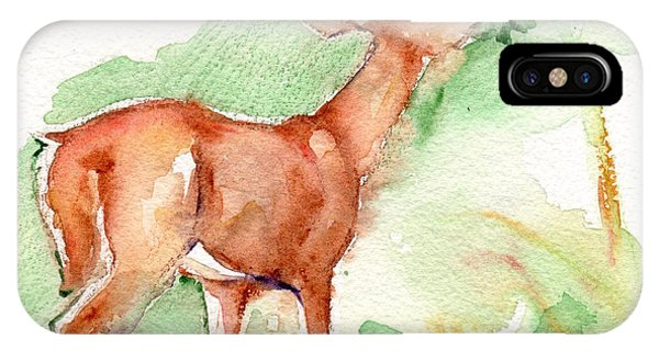 iPhone Case - Deer Painting In Watercolor by Maria Reichert