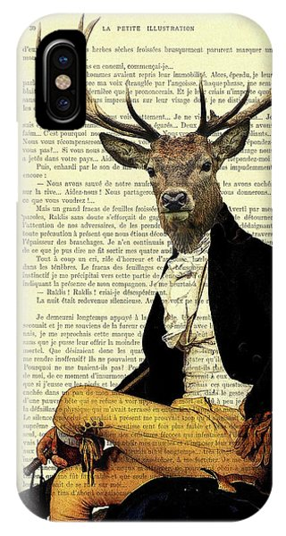 Stag iPhone Case - Deer Regency Portrait by Madame Memento