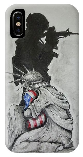 Silhouette iPhone Case - Defending Liberty by Howard King