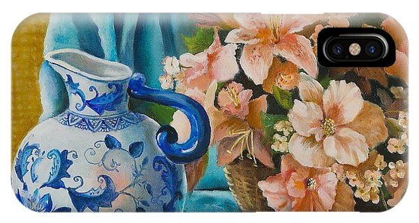 Delft Pitcher With Flowers IPhone Case