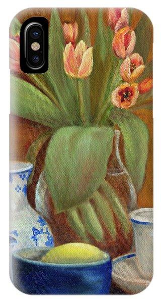 Delft Vase And Mini Tulips IPhone Case