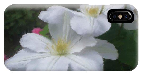Delicate White Clematis Pair IPhone Case