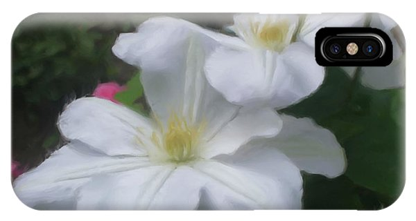 Delicate White Clematis Pair IPhone Case