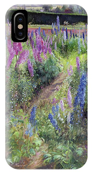 Violet iPhone Case - Delphiniums And Hoers by Timothy Easton
