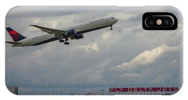 Alitalia iPhone Case - Delta Airlines Jet N836mh Hartsfield Jackson International Airport Art by Reid Callaway