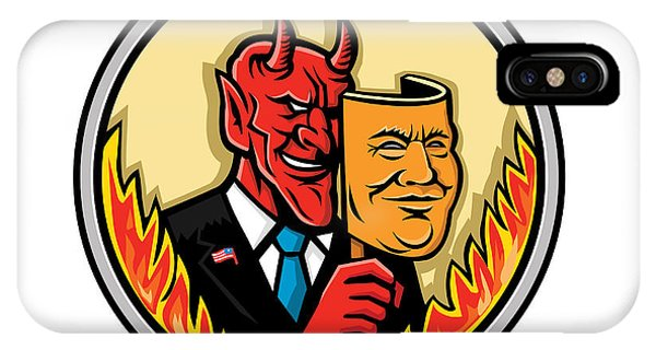 Capitalism iPhone Case - Demon Holding Mask With Flames Mascot by Aloysius Patrimonio