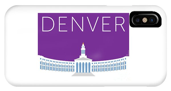 IPhone Case featuring the digital art Denver City And County Bldg/purple by Sam Brennan