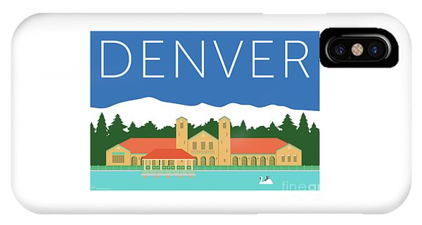 IPhone Case featuring the digital art Denver City Park/blue by Sam Brennan
