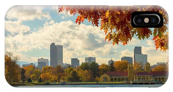Denver Skyline Fall Foliage View IPhone Case