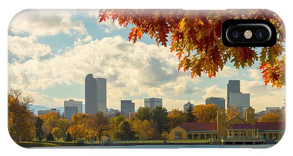 Denver Skyline Fall Foliage View IPhone Case