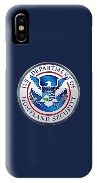 Department Of Homeland Security - D H S Emblem On Blue Velvet IPhone Case