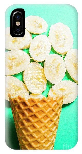 Dessert iPhone Case - Dessert Concept Of Ice-cream Cone And Banana Slices by Jorgo Photography - Wall Art Gallery