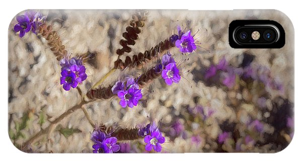 IPhone Case featuring the photograph Desert Zig Zag Purple Flower by Penny Lisowski