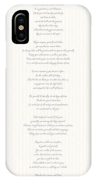 Desiderata In Silver Script By Max Ehrmann IPhone Case