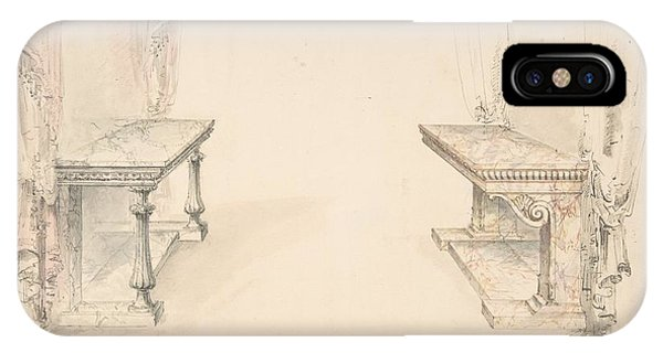 Table For Two iPhone Case - Designs For Two Marble Pier Tables With Draperies by Celestial Images
