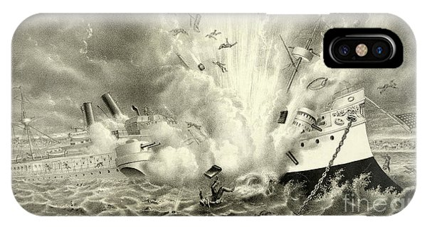 Shipwreck iPhone Case - Destruction Of The Us Battleship Maine, 15th February, 1898 by American School
