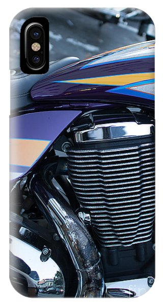 Detail Of Shiny Chrome Cylinder And Engine On Cruiser Motorcycle IPhone Case