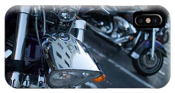 Detail Of Shiny Chrome Headlight On Cruiser Style Motorcycle IPhone Case