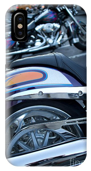 Detail Of Shiny Chrome Tailpipe And Rear Wheel Of Cruiser Style  IPhone Case