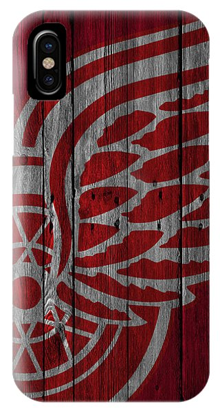 Puck iPhone Case - Detroit Red Wings Wood Fence by Joe Hamilton