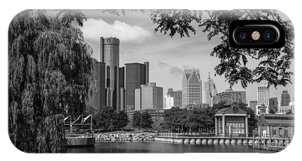 Detroit Skyline And Marina Black And White  IPhone Case