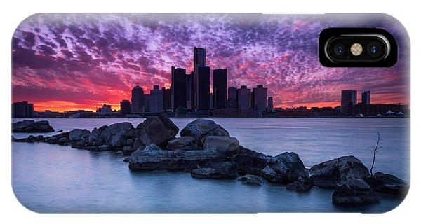Detroit Skyline Clouds IPhone Case