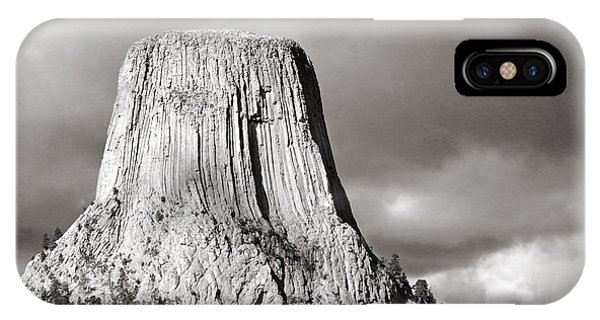 Devil's Tower Black And White IPhone Case