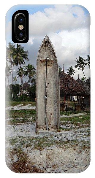Exploramum iPhone Case - Dhow Wooden Boat As A Beach Shower by Exploramum Exploramum