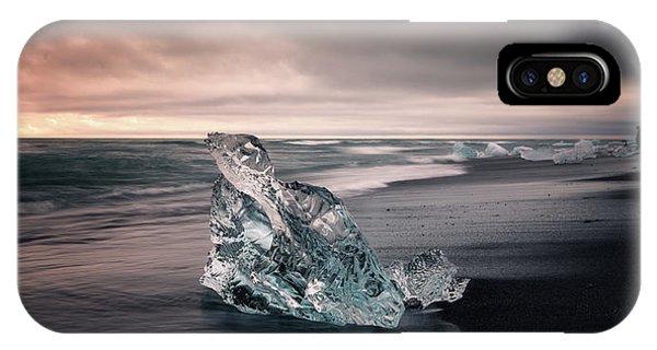 Black Sand iPhone Case - Diamond Beach by Tor-Ivar Naess