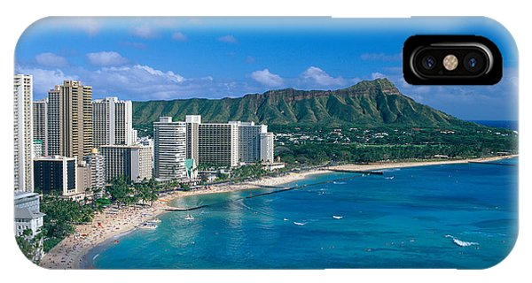 Distant iPhone Case - Diamond Head And Waikiki by William Waterfall - Printscapes