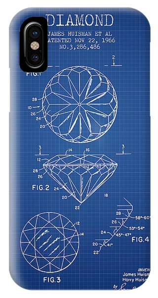 Technical iPhone Case - Diamond Patent From 1966- Blueprint by Aged Pixel
