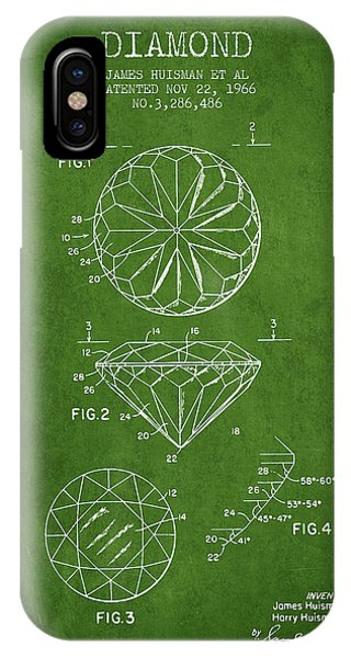 Technical iPhone Case - Diamond Patent From 1966- Green by Aged Pixel