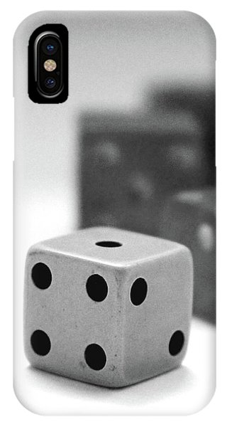 Nerd iPhone Case - Dice 1- Black And White Photo By Linda Woods by Linda Woods