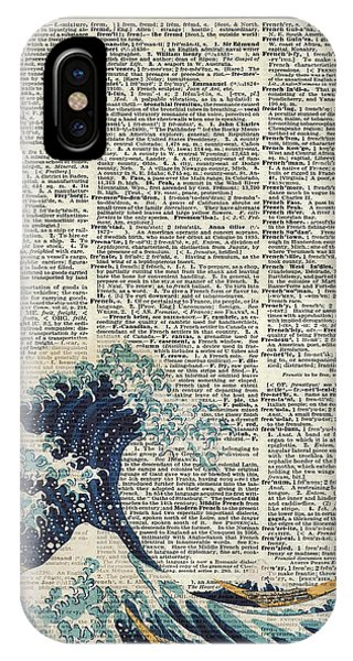 Pastel Pencil iPhone Case - Dictionary Art - The Great Wave Off Kanagawa  by Anna W