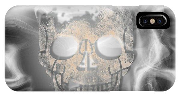 Smoke Fantasy iPhone Case - Digital-art Smoke And Skull by Melanie Viola