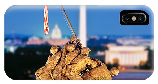 Washington Monument iPhone Case - Digital Composite, Iwo Jima Memorial by Panoramic Images