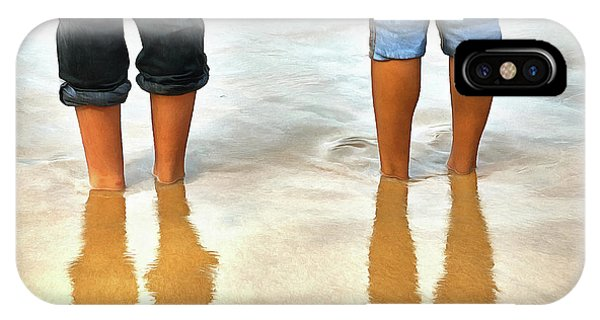 Having Fun iPhone Case - Digital Painting Of Two People On A Beach by Chandrasekhar Velayudhan