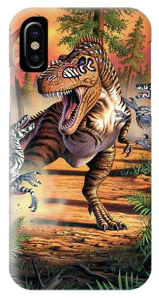 Beast iPhone Case - Dino Battle by Jerry LoFaro