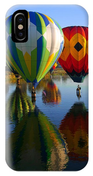Hot Air Balloons iPhone Case - Dipping The Basket by Mike  Dawson