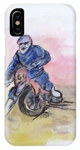 IPhone Case featuring the painting Dirt Bike Racer by Clyde J Kell