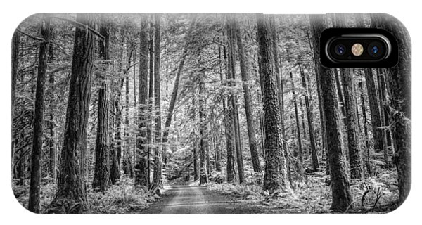Dirt Road Through A Rain Forest In Black And White IPhone Case