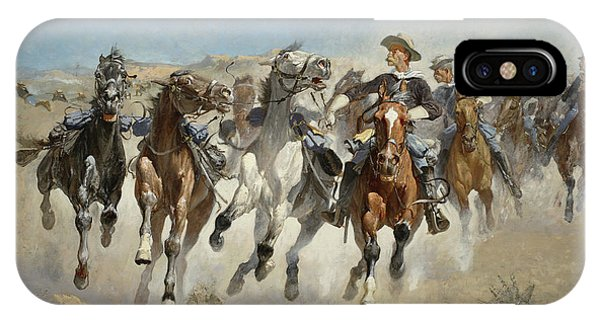 American Southwest iPhone Case - Dismounted The Fourth Troopers Moving The Led Horses by Frederic Remington