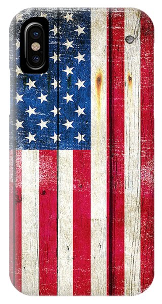 Distressed American Flag On Wood - Vertical IPhone Case