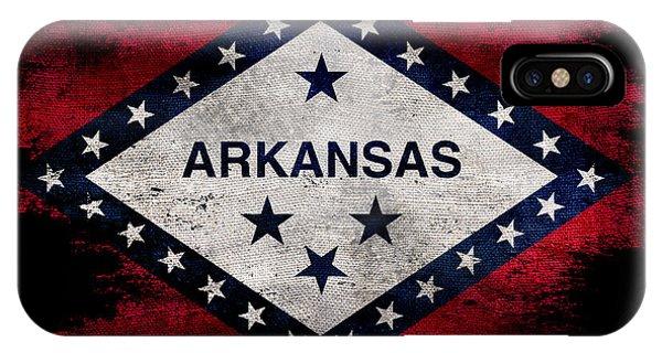 Distressed Arkansas Flag On Black IPhone Case