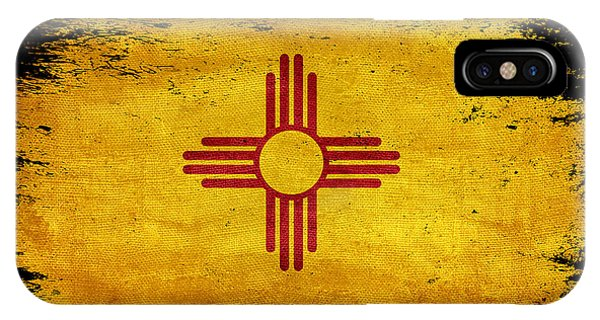 Distressed New Mexico Flag On Black IPhone Case
